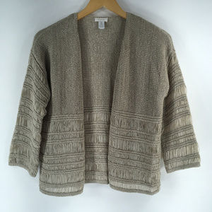 Chicos 0 (size Small) Beige Open Front Cardigan